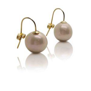 AAA Freshwater Pearl Drop Earrings Gold 13-14mm