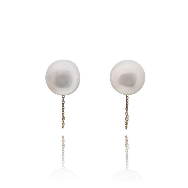Ball & Chain Pearl Stud Earrings | Lullu Luxury Pearls South Africa