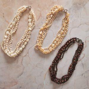 Champagne Dusk Multi-Strand Pearl Necklace | Lullu Pearl Jewellery