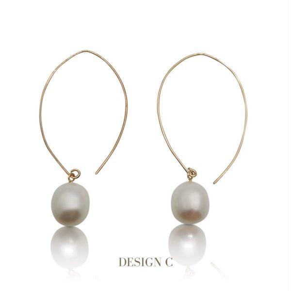 Gold Curve Pearl Hoop Earrings | Lullu Luxury Jewellery