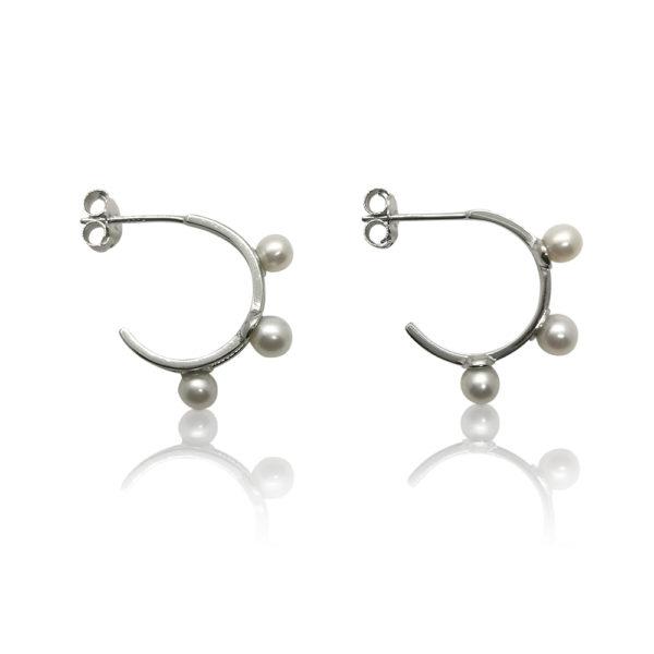 Trifecta Pearl Huggie Earrings | Silver | | Lullu Luxury Pearl Jewellery