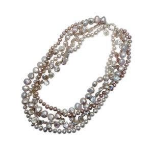 Queen Rose Multi-Strand Pearl Necklace | Lullu Luxury Pearl Jewellery