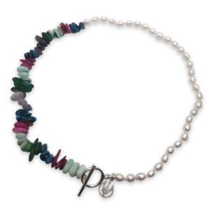 Rainbow Pearl Choker & Shell Bracelet | Lullu Pearl Jewellery