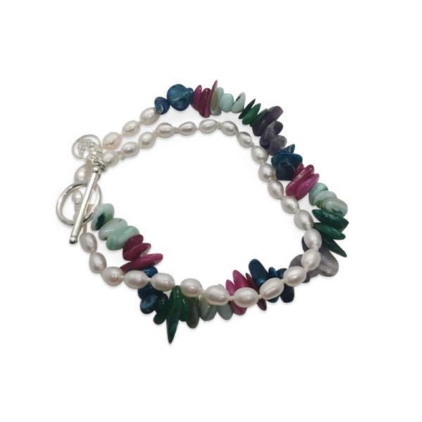 Rainbow Pearl Choker & Shell Bracelet   Lullu Pearl Jewellery